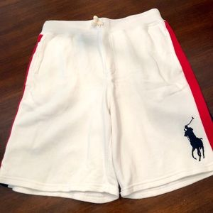 Youth large Polo shorts, white w/red navy stripe